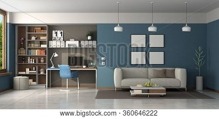 Work At Home In A Large Living Room With Desk,office Chair,bookcase And Modern Sofa - 3d Rendering