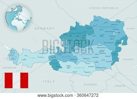 Blue-green Detailed Map Of Austria And Administrative Divisions With Country Flag And Location On Th