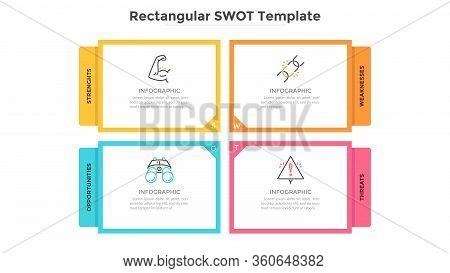 Swot Diagram With 4 Rectangular Elements. Strengths, Weaknesses, Threats And Opportunities Of Compan