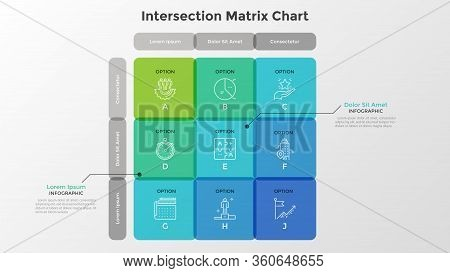 Matrix Diagram With 9 Intersected Translucent Cells Arranged In Rows And Columns. Table Or Grid With