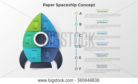 Spaceship Or Spacecraft Divided Into 6 Colorful Parts. Concept Of Six Options Or Steps Of Startup Pr