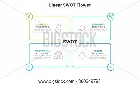 Swot Diagram With 4 Rectangular Elements. Advantages And Disadvantages Of Company. Simple Infographi