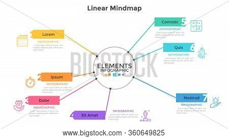 Mind Map With 7 Elements Connected To Main Central Circle. Creative Infographic Design Template. Sim