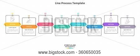 Bar Chart With 8 Descending Rectangular Elements. Diagram With Eight Stages, Business Plan Or Porces