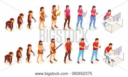 Human Evolution, Icons Of Man And Woman From Ape Monkey To Office Worker. People Evolution Process F