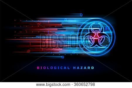 Biohazard Neon Light Sign, Biological Hazard Danger Warning Background. Bio Hazard Red Blue Symbol,
