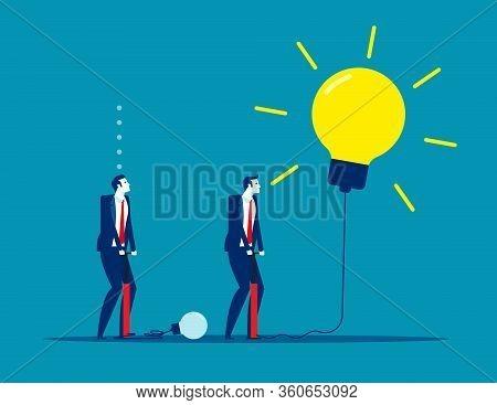 Extending Ideas. Concept Business Vector Illustration, Good & Bad, Creativity Idea