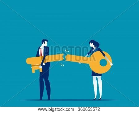 Business Success Key Destroyed. Concept Business Broke Vector Illustration, Bankruptcy