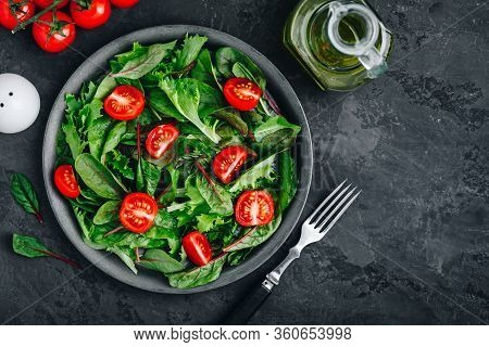 Fresh Green Organic Mixed Lettuce With Tomatoes, Ingredients For Salad.