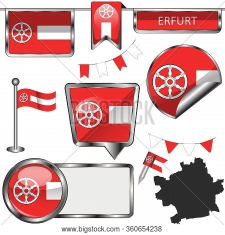 Vector Glossy Icons Of Flag Of Erfurt City, Germany On White