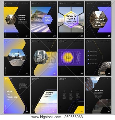 Creative Brochure Templates With Hexagonal Design Background, Hexagon Style Pattern. Covers Design T