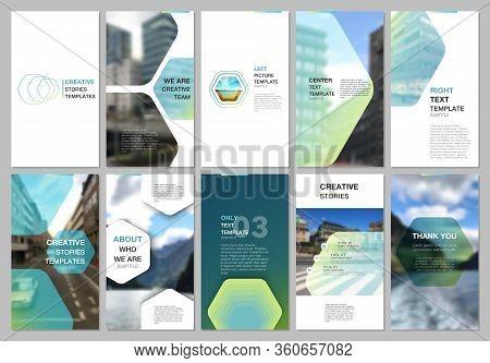 Creative Social Networks Stories Design, Vertical Banner Or Flyer Templates With Hexagonal Design Gr