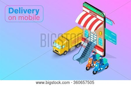 Fast Delivery By Scooter And Truck On Mobile Phone. Online Food Order And Package In E-commerce By A