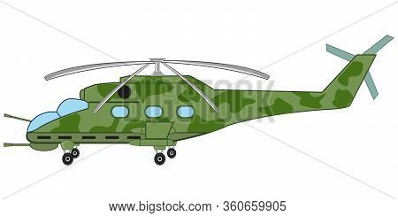 Military Helicopter On White Background Is Insulated