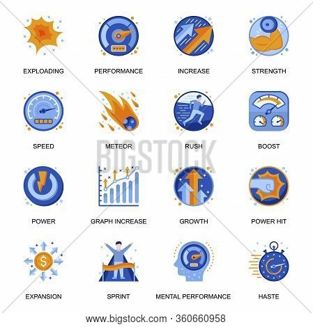Mental Performance Icons Set In Flat Style. Power Hit, Boost And Rush, Exploding And Meteor, Expansi