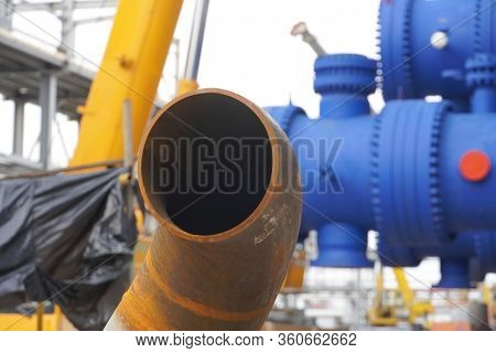 Pipeline Dn 150. Branch + Pipe. A Section Of The Pipeline For An Oil Refinery Amid Technological Equ