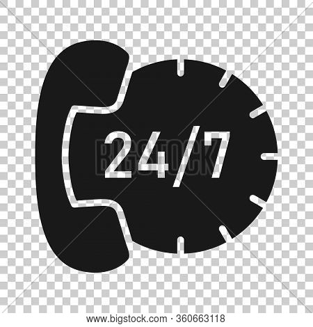 Phone Service 24h Icon In Flat Style. Telephone Talk Vector Illustration On White Isolated Backgroun