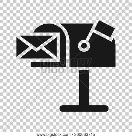 Mailbox Icon In Flat Style. Postbox Vector Illustration On White Isolated Background. Email Envelope