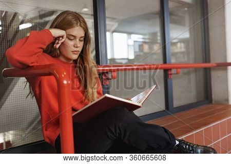 Serious-looking Redhead Attractive Woman Sit On Bench Indoors, Reading Book With Focused, Determined