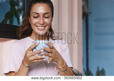 Chill And Relaxed Happy Woman, Smiling Enjoying Nice Hot Cup Of Coffee, Self-quarantine, Stay Home T
