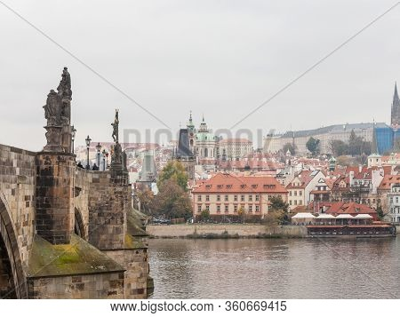 Panorama Of The Old Town Of Prague, Czech Republic And Charles Bridge (karluv Most)  And The Prague