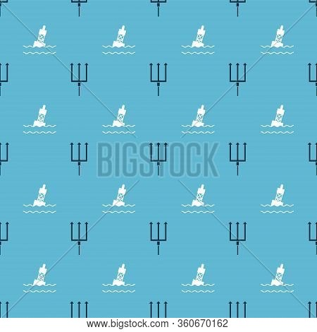 Set Neptune Trident And Floating Buoy On The Sea On Seamless Pattern. Vector