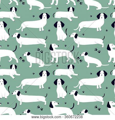 Seamless Pattern With White German Badger-dog, Dachshund. Cute Cartoon Character. Animal Print.