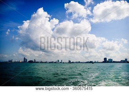 Panorama View Of Pattaya City Left Behind On The Horizon With The Waters Of The Bay On The Way To Ko