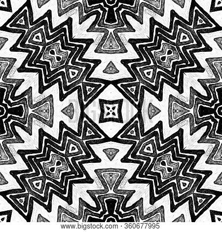 Dark Black And White Geometric Watercolor. Decent Seamless Pattern. Hand Drawn Stripes. Brush Textur