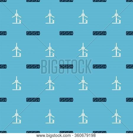 Set Electric Extension Cord And Wind Turbine On Seamless Pattern. Vector