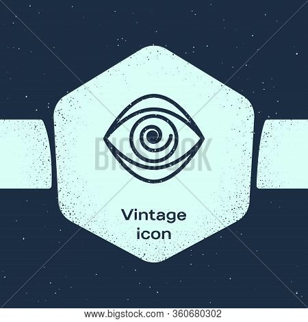 Grunge Line Hypnosis Icon Isolated On Blue Background. Human Eye With Spiral Hypnotic Iris. Monochro