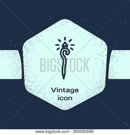 Grunge Line Magic Staff Icon Isolated On Blue Background. Magic Wand, Scepter, Stick, Rod. Monochrom