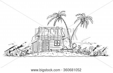 Vector Cartoon Stick Figure Drawing Conceptual Illustration Of Happy Man Enjoying Living Alone On Sm