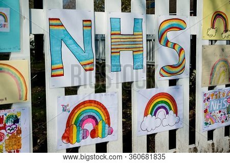 Camberley; United Kingdom, 9th April 2020:- Signs Thanking The Nhs During The Covid-19 Outbreak
