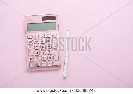 Pink Calculator With White Pen, Flat Lay