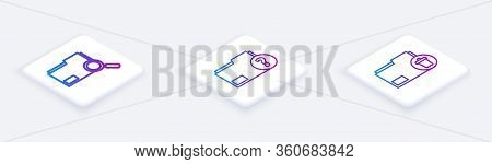 Set Isometric Line Search Concept With Folder, Unknown Document Folder And Delete Folder. White Squa