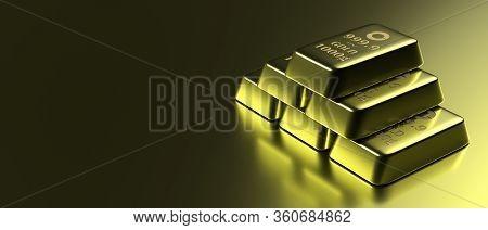 Gold Bars On Black Background, Copy Space. 3D Illustration