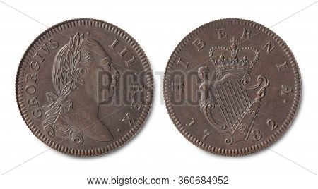 Copy Of The Irish Copper Half Penny Coin Of The Reign Of King Of Great Britain And Ireland George Ii