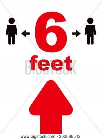 Keeping A Distance Vector Sign.6 Feet Rule. Social Distancing Vector Icon. Red-black Sign On A White