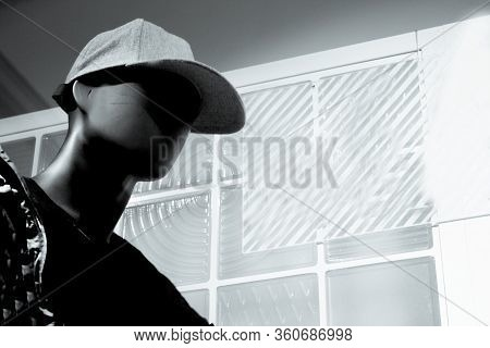 Black Male Mannequin Without Defined Face With Cap