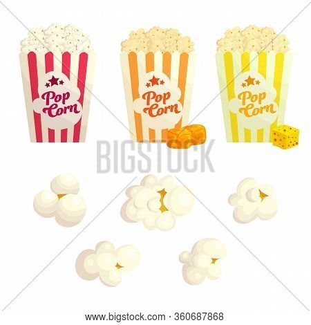 Popcorn With Different Flavours Flat Vector Illustration Set. Popped Corn With Cheese And Caramel. J