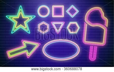 Led Neon Star Vector. Colorful Disco Party Sign. Arrow Casino Frame. Night Pointer For Bar In Blue C