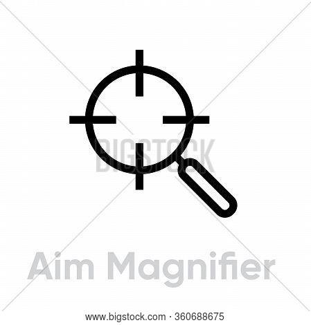 Aim Magnifier Target Icon. Editable Line Vector.