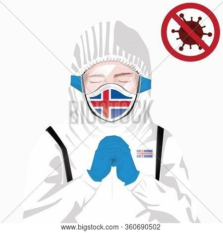 Covid-19 Or Coronavirus Concept. Icelandic Medical Staff Wearing Mask In Protective Clothing And Pra