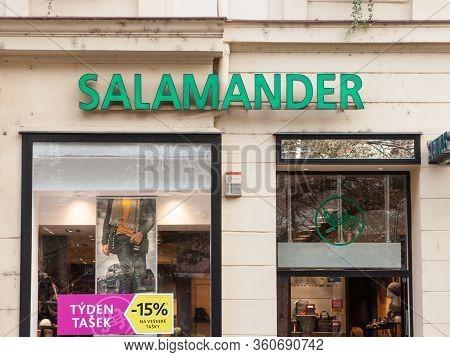 Prague, Czechia - November 1, 2019: Salamander Shoes Logo In Front Of Their Store In Prague. Salaman