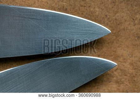Two Kitchen Knives Closeup