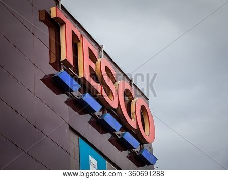 Prague, Czechia - November 4, 2019: Tesco Logo On Their Main Supermaket In Prague. Tesco Is A Britis