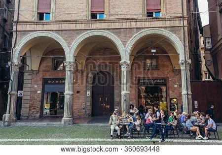 Bologna, Italy - September 30, 2019: Restaurant On St Stephen Square In Historic Part Of Bologna Cit