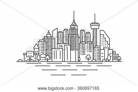 San Antonio City, Texas Architecture Line Skyline Illustration. Linear Vector Cityscape With Famous