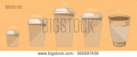 Paper Cups Foe Hot Drinks, Hand Drawn Sketch